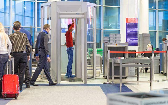 Airport security screening.