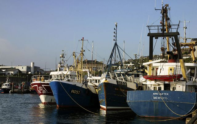 Fishing trawlers in the harbour at Dunmore East, Waterford.