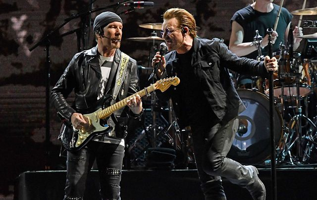 The Edge and Bono onstage at MetLife Stadium last week.