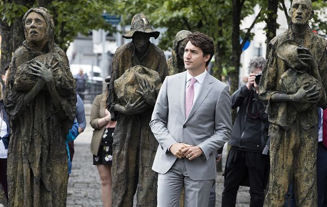Canadian Prime Minister Justin Trudeau absorbing the haunting Famine Memorial on the Liffey quays, in Dublin.