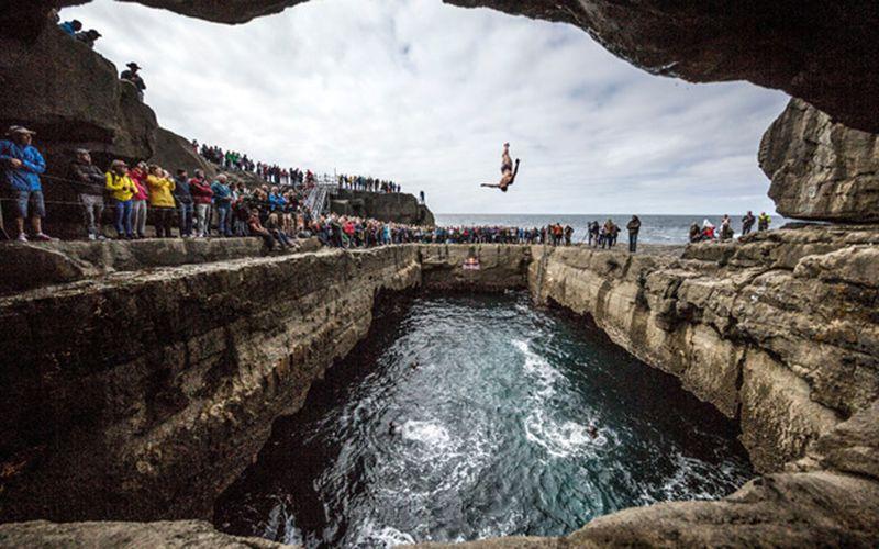 Cliff diving off the Aran Islands, can you say vertigo