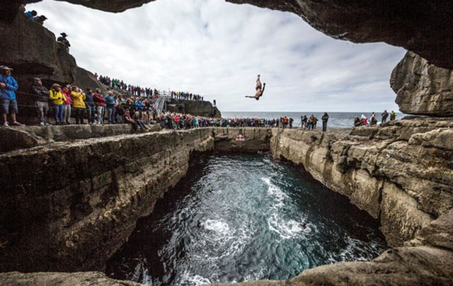 Divers in action at the Red Bull World Series on the Aran Islands, off Galway.