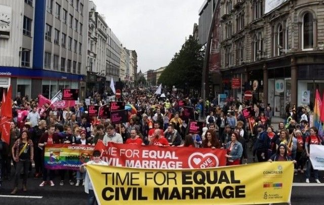 Thousand march for equal LGBT rights in Northern Ireland.