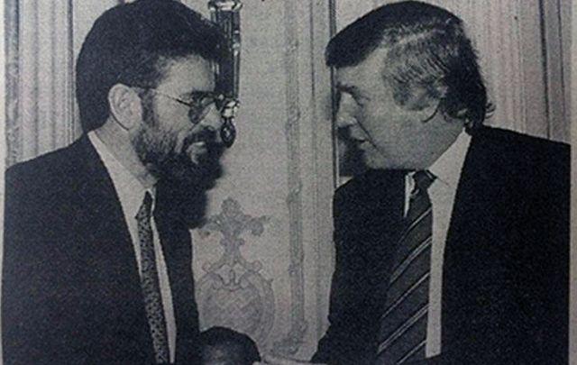 Sinn Fein's Gerry Adams shakes Republican, now President, Donald Trump's hand.