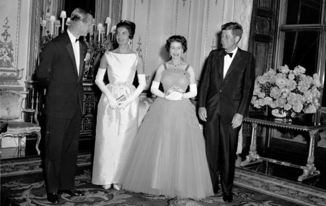 Prince Philip, Jacqueline Kennedy, Queen Elizabeth II, and President John Fitzgerald Kennedy at Buckingham Palace on June 5, 1961.