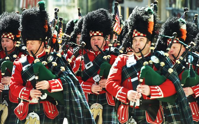 Pipers march in New York St. Patrick\'s Day parade.