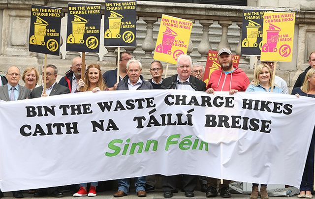 Protestors against the new bin charges outside City Hall in Dublin last week.