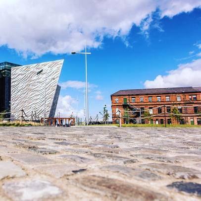 Northern Ireland\'s fantastic Titanic Belfast museum next to the new Titanic Hotel Belfast