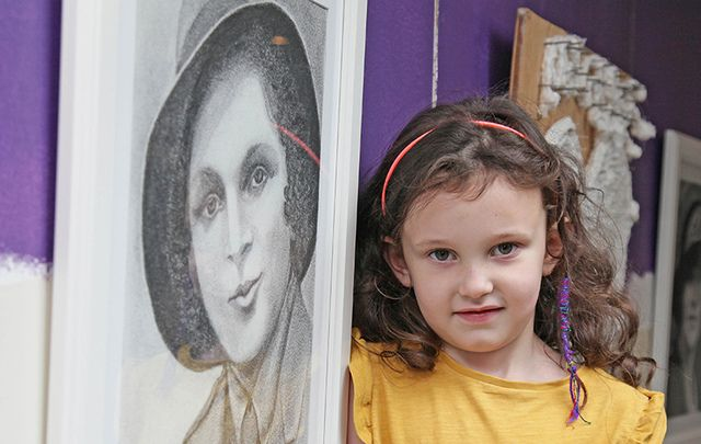 A young girl pictured at 1916 Art Exhibition in County Longford.
