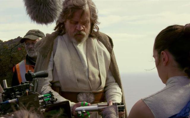 Luke and Rey (Mark Hamill and Daisy Ridley) shooting a scene set on Skellig Michael.