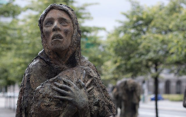 Statue by Rowan Gillespie, on Liffey Quay, a Memorial to the Irish Famine.