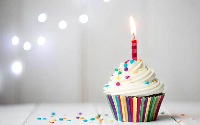 Cupcake with birthday candle.
