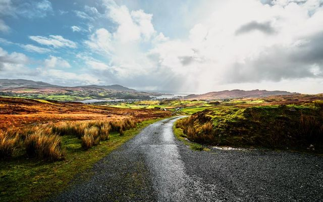 "A country road in County Donegal: ""May the road rise up to meet you\"" Irish blessing"