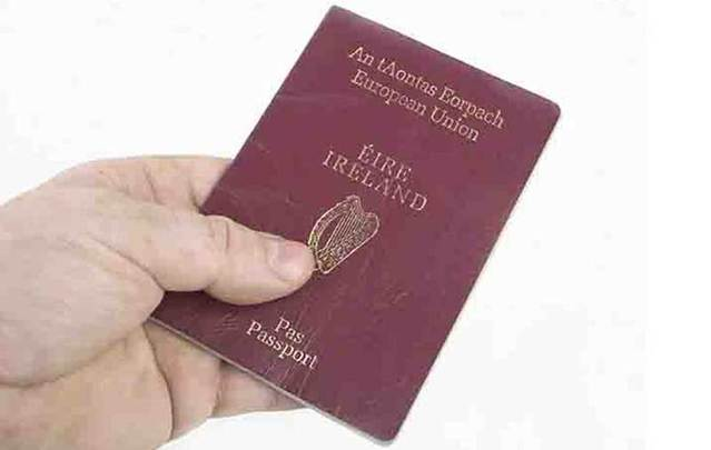 A hand holds an Irish passport.
