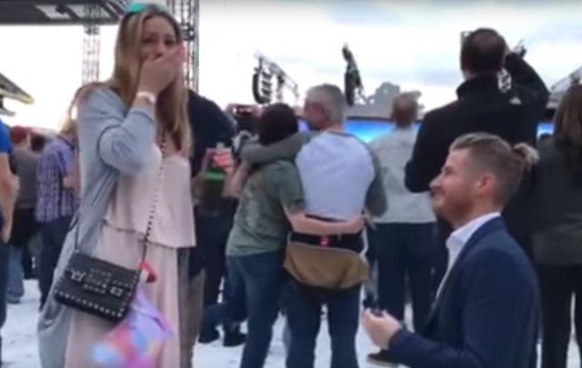 Will she, won\'t she?! Gorgeous wedding proposal at U2\'s Croke Park gig.