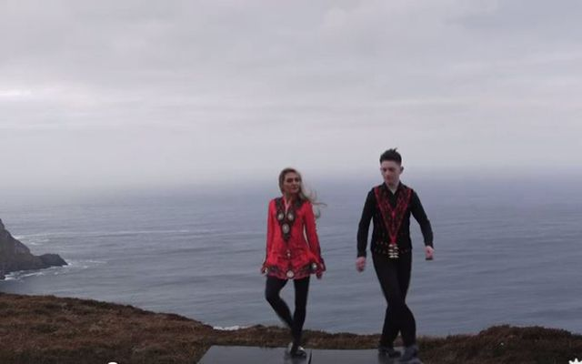 Irish dancers The Shevlin Twins take to the cliffs to perform Ed Sheeran song Nancy Mulligan.