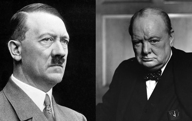 Adolf Hitler and Winston Churchill.