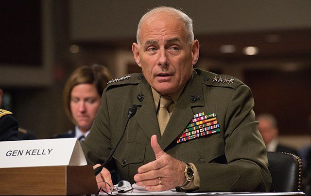 U.S. Marine Corps Gen. John F. Kelly, the commander of U.S. Southern Command, testifies before the Senate Armed Services Committee in 2015.