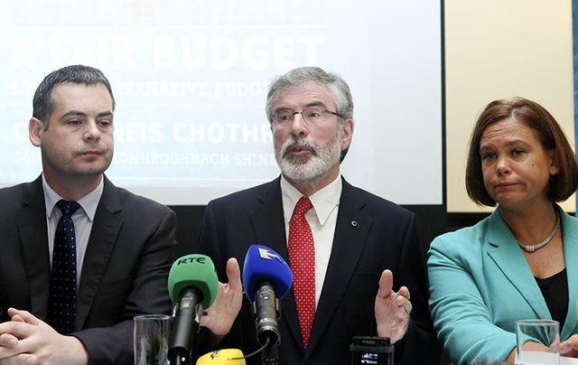 Sinn Fein's Pierce Doherty, Gerry Adams, and Mary Lou MacDonald.