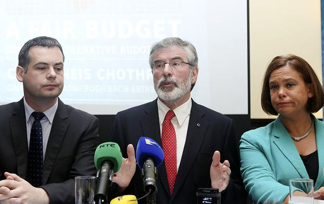 Sinn Fein\'s Pierce Doherty, Gerry Adams, and Mary Lou MacDonald.