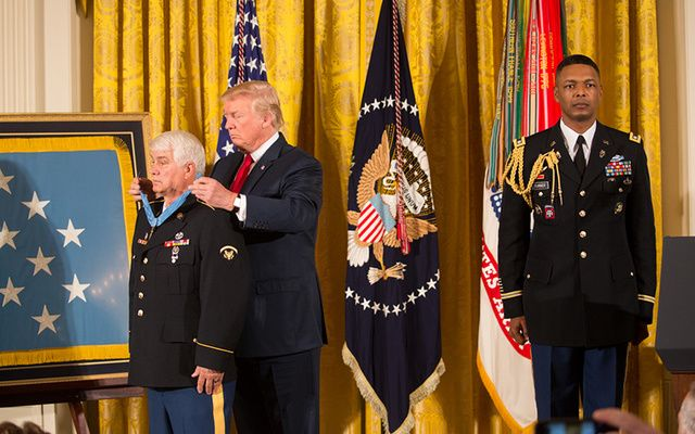 President Trump presenting the Medal of Honor to James McCloughan on Monday. \n