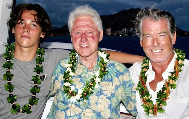 Paris Brosnan, President Clinton and Pierce Brosnan hanging out in Hawaii!