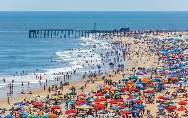 A crowded beach at Ocean City, Maryland.