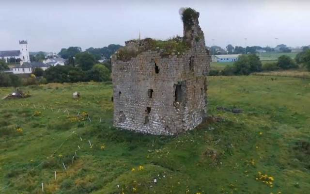 Aerial shot of Corofin Castle in Co Galway.