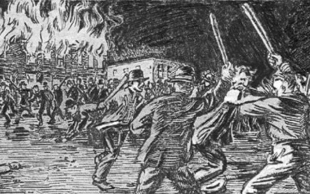 A depiction of the Bloody Monday riots of 1855.