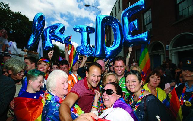 Leo Varadkar taking photos with the crowds at Dublin Pride.
