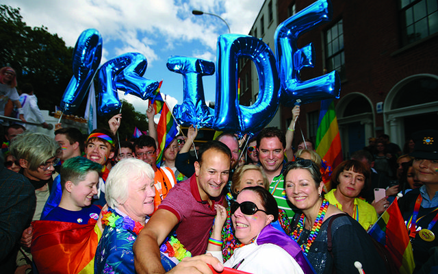 Leo Varadkar taking photos with the crowds at Dublin Pride.