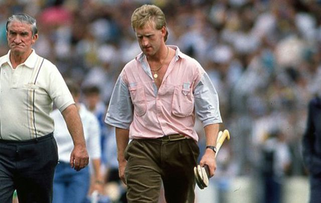 Tony Keady (right), banished to the team bench for the 1989 All Ireland hurling semi-final after New York suspension