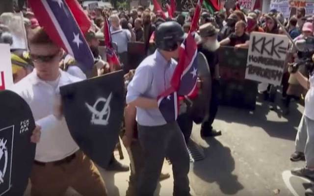 White marchers clash with counter protestors at Unite the Right rally in Charlottesville, Virginia.