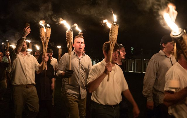 There are not sides: Still from Vice's footage of neo-Nazi's marching in Virginia.