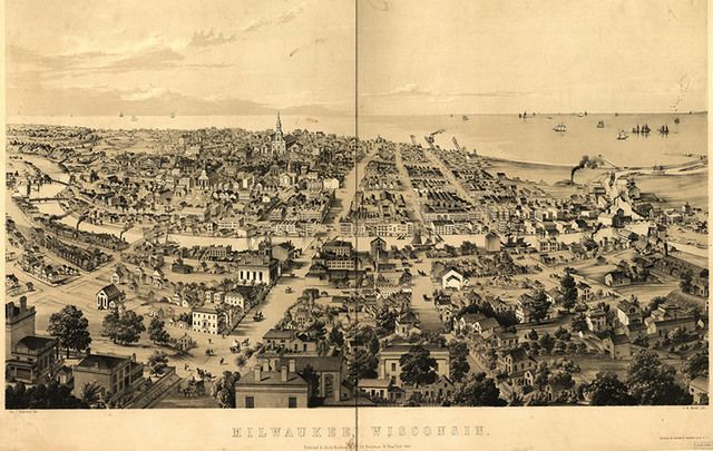 A historic drawing of Milwaukee, Wisconsin.