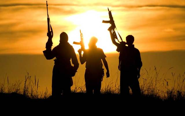 A group of jihadis raise their weapons against the setting sun.
