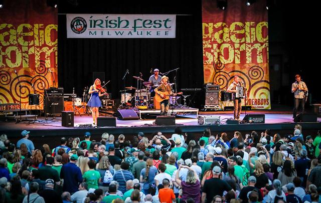 Gaelic Storm performing at the Milwaukee Irish Fest 2017.