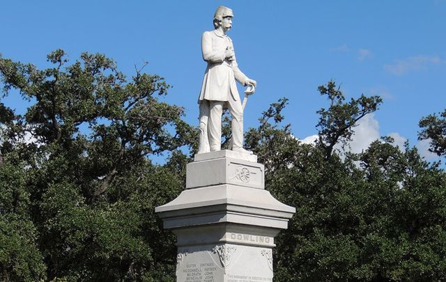 """Statue of Richard William \""""Dick\"""" Dowling in Hermann Park, Houston, Texas."""