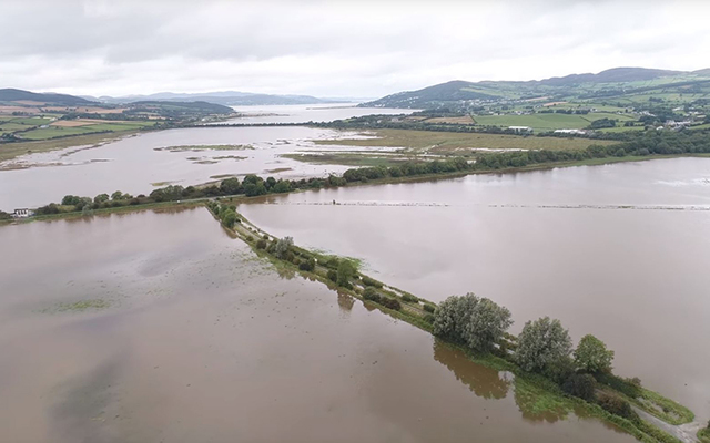 Aerial shot of flooding in Donegal, in the Burt/ Inch area of the county near the border with Derry.