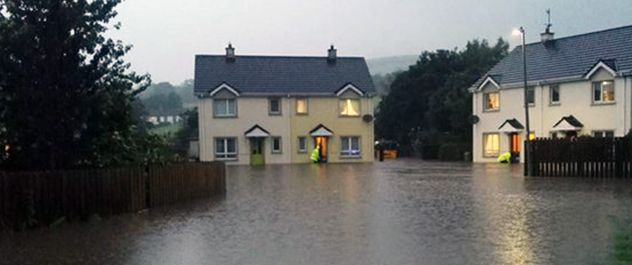 Flooded homes in Burnfoot, Ireland.