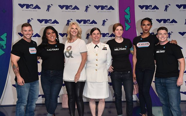 The trans service members on the red carpet at the VMAs. Far left are Logan and Laila Ireland.