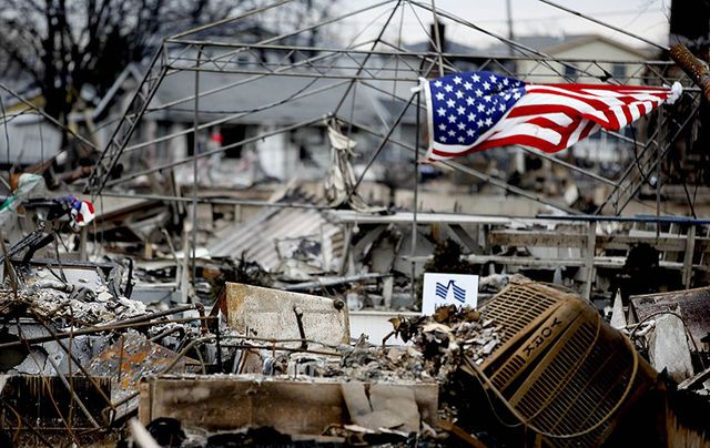 Photo taken by a US Marine of the devastation caused in the largely Irish neighborhood of Breezy Point, in Brooklyn.
