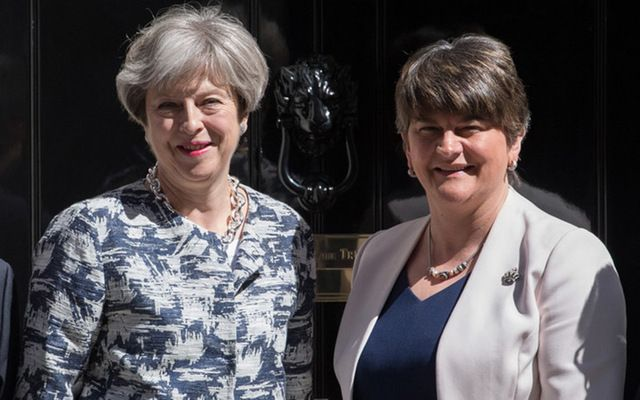 British Prime Minister Theresa May and Democratic Unionist Party leader Arlene Foster at 10 Downing Street in June.