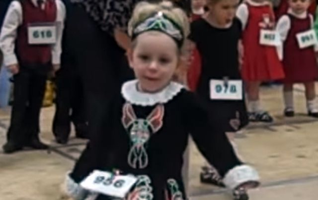 Gorgeous little girl Irish dancing at her first feis.