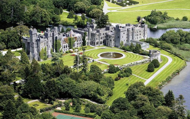 Aerial shot of Ashford Castle, outside Cong, County Mayo.