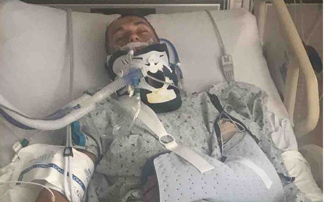 Tyrone football player Aaron Elliott was left with a leak on the brain, a blood clot, a fractured skull and a collapsed lung after a car accident in Philadelphia.