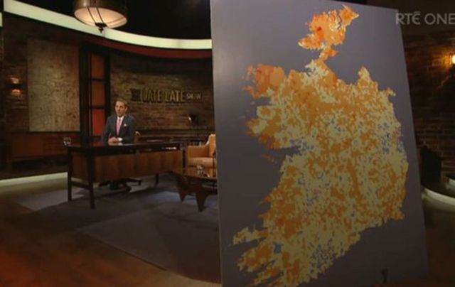 A map of Ireland featured on RTÉ\'s Late Late Show blacked out the six counties of Northern Ireland.