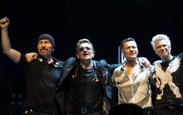 U2 - The Edge, Bono, Larry and Adam.