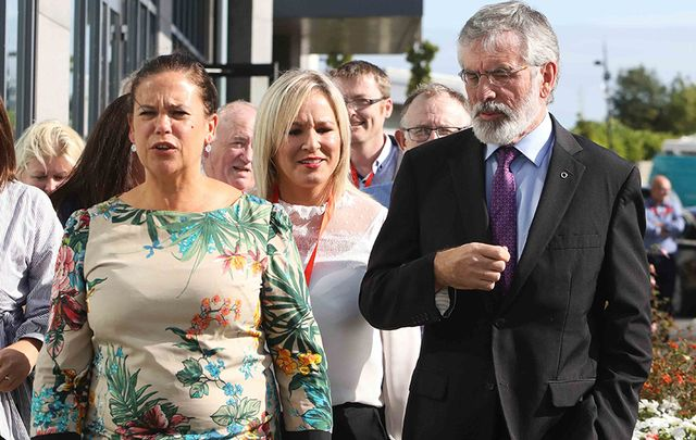 Mary Lou McDonald TD, leader of Sinn Féin in the Northern Ireland Assembly Michelle O\'Neill, and Sinn Fein Party President Gerry Adams after speaking at the annual Sinn Féin away day meeting.