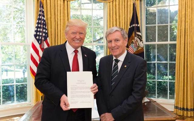 Ireland's ambassador to the US Dan Mulhall and President Donald Trump in the Oval Office, where the new ambassador presented his credentials and briefly met with the president on Friday.